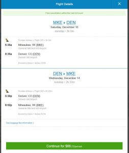 MKE-DEN: Priceline Booking Page