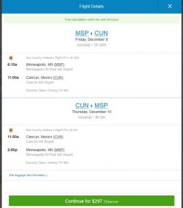 MSP-CUN: Priceline Booking Page