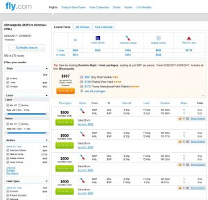 MSP-HNL: Fly.com Search Results
