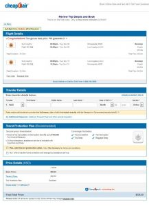 MSP-LAX: CheapOair Booking Page