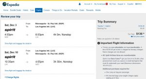 MSP-LAX: Expedia Booking Page ($137)