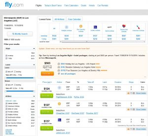 MSP-LAX: Fly.com Search Results