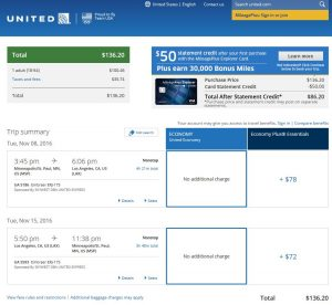 MSP-LAX: United Airlines Booking Page