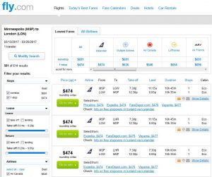 MSP-LON: Fly.com Search Results