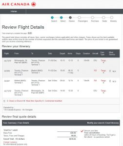 MSP-MAD: Air Canada Booking Page