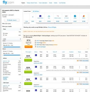 MSP-MAD: Fly.com Search Results