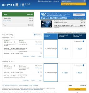 MSP-MAD: United Airlines Booking Page