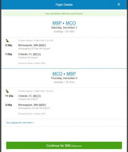 MSP-MCO: Priceline Booking Page