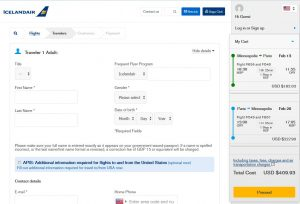MSP-PAR: Icelandair Booking Page