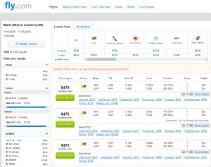 Miami to London: Fly.com Results