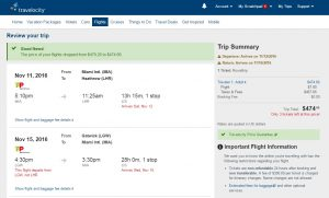 Miami to London: Travelocity Booking Page