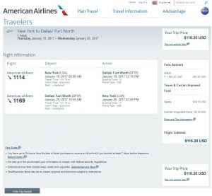 NYC-DFW: American Airlines Booking Page