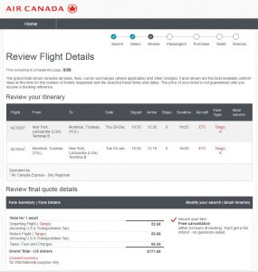 NYC-YUL: Air Canada Booking Page