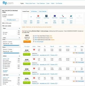 NYC-YUL: Fly.com Search Results