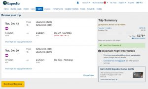 NYC to Iceland: Expedia Booking Page