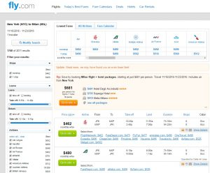 NYC to Milan: Fly.com Results