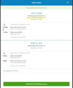 NYC to Milan: Priceline Booking Page