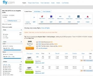 New York City to Los Angeles: Fly.com Results