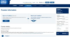 Philadelphia to Ft. Lauderdale: JetBlue Booking Page