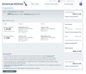 Philadelphia to London: American Airlines Booking Page