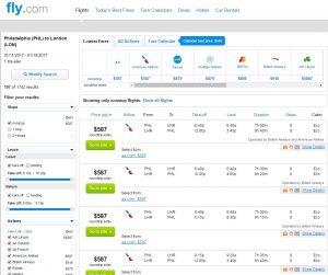 Philadelphia to London: Fly.com Results