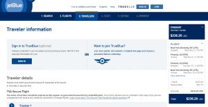 Phoenix to NYC: JetBlue Booking Page