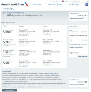 Phoenix to Pensacola: Fly.com Results