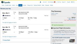 SAT-CUN: Expedia Booking Page