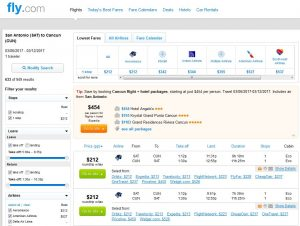 SAT-CUN: Fly.com Search Results