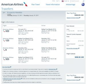 STL-HNL: American Airlines Booking Page