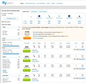 STL-HNL: Fly.com Search Results