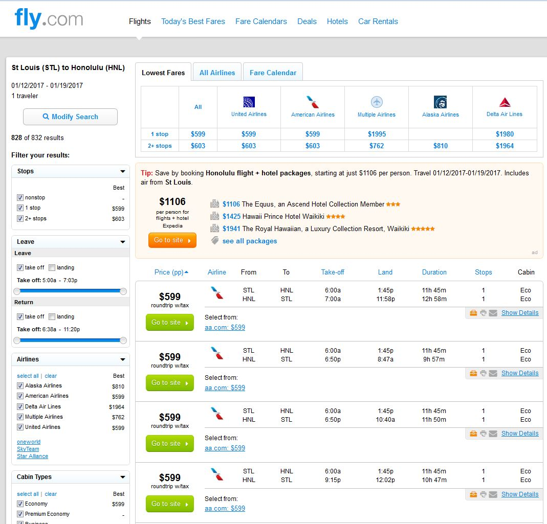 Search Results: $599-$606 -- St. Louis & Minneapolis To Honolulu In 2017