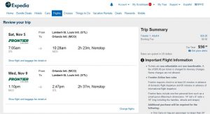 STL-MCO: Expedia Booking Page
