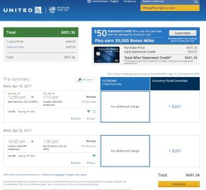 San Francisco to London: United Airlines Booking Page