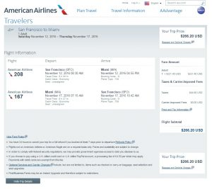 San Francisco to Miami: American Airlines Booking Page