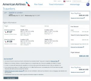 Seattle to London: American Airlines Booking Page