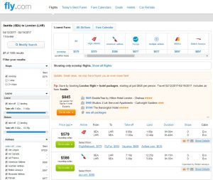 Seattle to London: Fly.com Results