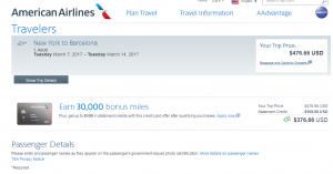 NYC to Barcelona: AA Booking Page