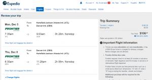Atlanta to Denver: Expedia Booking Page