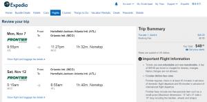 Atlanta to Orlando: Expedia Booking Page
