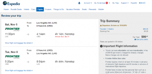 LA to Chicago: Expedia Booking Page