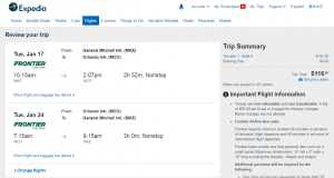 Milwaukee to Orlando: Expedia Booking Page