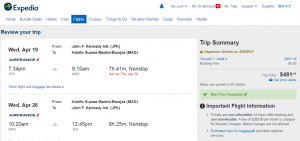 NYC to Madrid: Expedia Booking Page