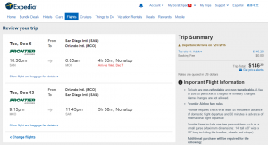 San Diego to Orlando: Expedia Booking Page