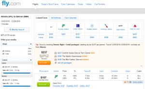 Atlanta to Denver: Fly.com Results Page