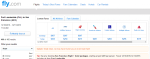 Ft Lauderdale to SF: Fly.com Results Page