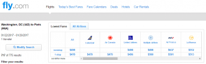 D.C. to Paris: Fly.com Results Page
