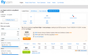 Las Vegas to Long Beach: Fly.com Results Page