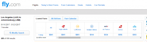 LA to Johannesburg: Fly.com Results Page