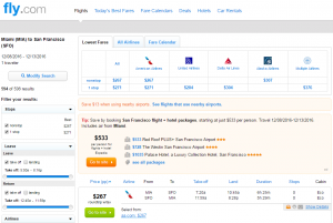 Miami to SF: Fly.com Results Page
